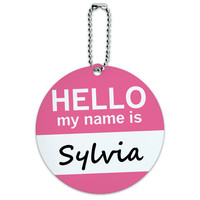 Sylvia Hello My Name Is Round ID Card Luggage Tag