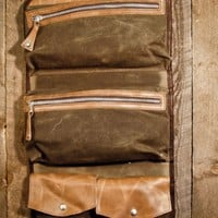 Men's Leather Waxed Canvas Travel Kit Bag - by Buffalo Jackson
