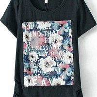 Graphic Quotes Floral Print Shirt in Black
