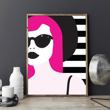 Pop Art Chic Poster, Home Decor, Living Room Decor, Beauty Print, Wall Art, Glamour Decor, Fashion Illustration, Colorful Poster.