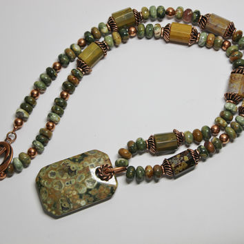 Multi-Color Rhyolite Gemstone Pendant and Beads with Copper Necklace