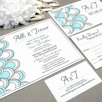 Beach Petals | Modern Wedding Invitation Suite by RunkPock Designs | Scalloped Script Calligraphy Summer Wedding Design | Shown in light teal blue and tan champagne sand