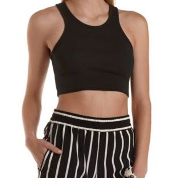 Ribbed Racer Front Crop Top by Charlotte Russe