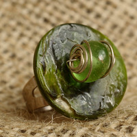 Green Glass and Shell Wire Wrapped Ring, Ring, Silver, Handmade, Jewellery, Vintage, Quirky, 1801Vintage