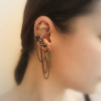 Steampunk Ear Cuff With Chains, Garnets And Wing Charm
