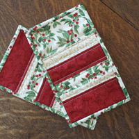 Quilted Christmas Mug rug, set of 2 in holly berry fabric accented with gold and red