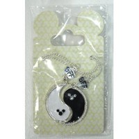 Dsiney Parks Mickey Mouse Black & White Yin Yang Friendship Charm Necklace (Comes Sealed) - Disney Parks Exlusive & Limited Availability