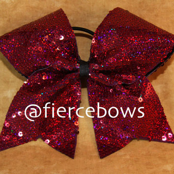 Crimson Holographic Sequin Cheer Bow