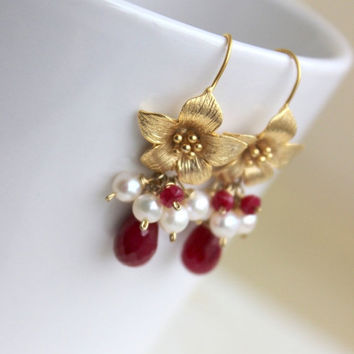 35% Off Ruby Gemstone and Pearl Earrings Maroon Red Gold Floral GE14