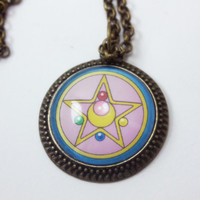 Moon Crystal Power - Antique Gold Sailor Moon Brooch Necklace