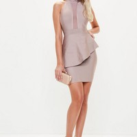 Missguided - Nude High Neck Bandage Frill Dress