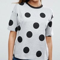 ASOS Top In Polka Dot With Contrast Binding at asos.com