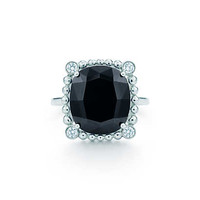 Tiffany & Co. - Ziegfeld Collection ring in sterling silver with black spinel and diamonds.