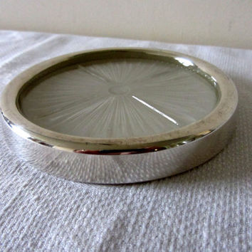 Vintage French Silver Plated Glass Wine/Champagne Coaster