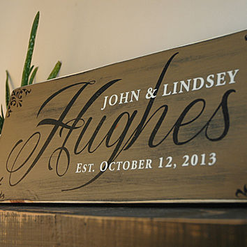 Handmade Family Last Name Sign, Established Sign, Rustic Wood Sign