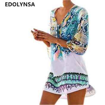 DKLW8 Bathing Suit Beach Caftan Swimsuit Cover up Print Chiffon Pareo Women Robe Plage Swimwear Dress Sexy Sarong Beach Tunic #Q152