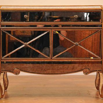Canonbury - Art Deco Glass Mirrored Chest Drawers Cabinet Credenza