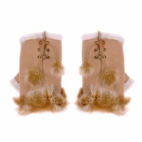 ZLYC Women Teen Classic Winter Warm Rabbit Fur Hands Wrist Fingerless Gloves Khaki