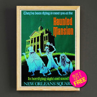 Vintage Disneyland Attraction Poster Halloween Haunted Mansion Print Home Wall Decor Gift Linen Print - Buy 2 Get 1 FREE - 361s2g