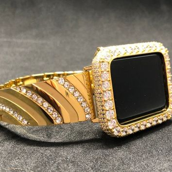 Apple Watch 38mm 42mm Band Women Mens Gold Rhinestone Crystal / Gold Iced Out Bezel Case Cover Series 1,2,3 2mm Lab Diamonds Iwatch Bling