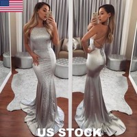 Women Formal  Bridesmaid  Party Ball Prom Gown Dress Women Backless Halter Solid Sleeveless Dress Summer Clothing