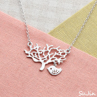 Tree and Sparrow Necklace by SuJinBiJoux on Etsy
