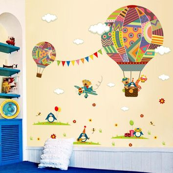 colorful hot air balloon penguin bear carton mural decorative home decor decal kids baby nursery bedroom wall sticker poster
