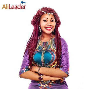 AliLeader Burgundy Faux Locs Crochet Hair Styles 18 Inch Kanekalon Crochet Braid Hair Synthetic Dreadlocks Extensions For Women