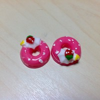 2 pcs Rose Pink Strawberry, Cream and Heart Donuts Cabochon Flatbacks 18 x 18 mm