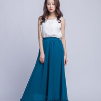 High Waist Bridesmaid Skirt Chiffon Maxi Skirts Beautiful Elastic Waist Summer Skirt Floor Length Women Skirt (301), 14#