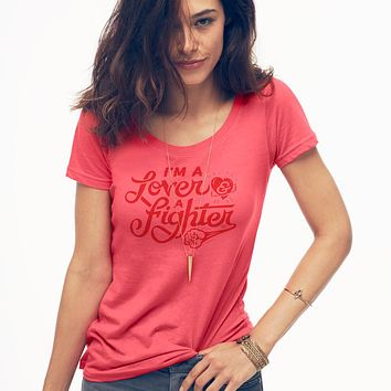 I'm A Lover And A Fighter Ladies' Sheer Scoopneck T-Shirt