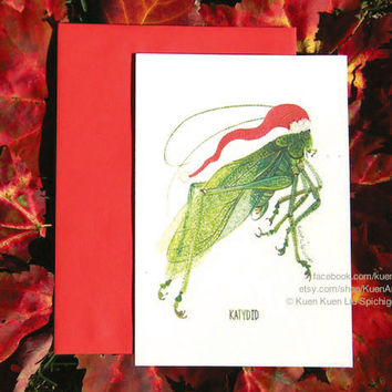 Set of 5 Katydid Insect Christmas Cards - Funny Insect Christmas Card - Green Leaf Insect Bug - Entomology Art - Santa Hat Greeting Cards