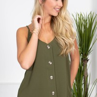 Montana Button-Up Top | Olive Green