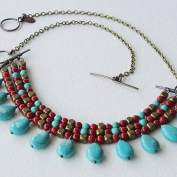Egyptian Bib Pectoral Necklace, Gold, Turquoise, Coral, Handmade, OOAK