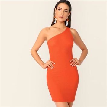 5e6e7a226e66 Barbie Dreams One Shoulder Bodycon Mini Dress
