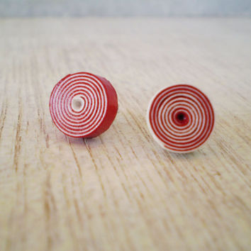 Stud Spiral Earrings Red White Paper Minimal Unisex Eco Friendly Jewelry Christmas Gift  / Σκουλαρίκια από χαρτί