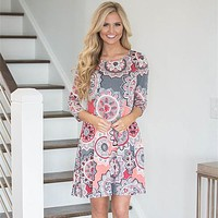 Retro Multicolor Totem Flower Print Middle Sleeve Round Neck Mini Dress