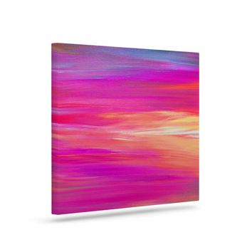"Ebi Emporium ""Bright Horizons 2"" Magenta Multicolor Painting Canvas Art"
