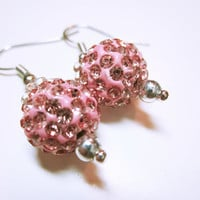 Pink Round Earrings, Pink Shamballa Bead, Pink Beaded Drops, Pink Jewellery, Statement Earring, Women's Jewellery