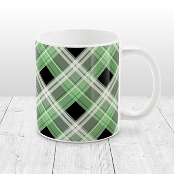 Alternative Green Plaid Mug - Black White Green Plaid Pattern - 11oz or 15oz Green Mug - Made to Order