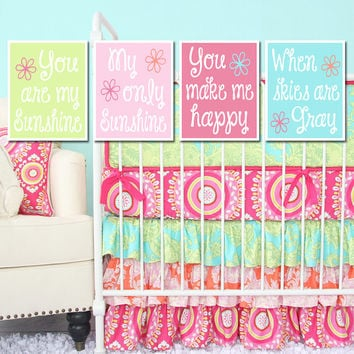 You Are My Sunshine Wall Art Girl Nursery Colorful Pink Aqua Blue Lime Green Artwork Cute Quote Song Set of 4 Prints Baby Crib Decor