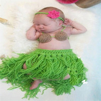 Cute Newborn Baby photography props Infant Animal Knitting Crochet Costume baby Soft Adorable Hawaii Grass Skirt Modeling Clothes (Color: Green) = 1841362436