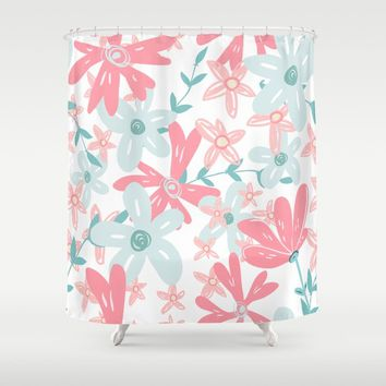 coral and mint flowers Shower Curtain by sylviacookphotography