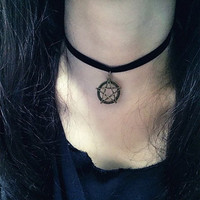 Black Pentacle Pendant Velvet Ribbon Choker Necklace