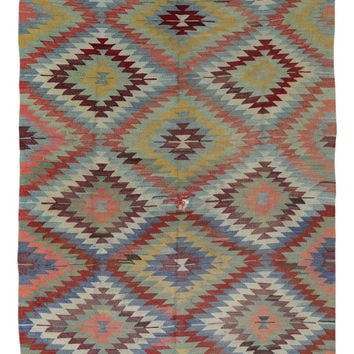 Diamond Kilim Rug -  Outdoor Kilim Rug - Antique Turkish Area Rug - Oriental Rugs - Bohemian Rug with Pastel Colors - A111404014