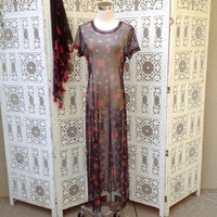 90's Sheer Floral Maxi Club Kid Dress Rose Print Beach Coverup Stretchy Long   //SuzNews Etsy Store//