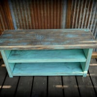 Pre-teen Shoe Rack Bench - Two Tone RusticTurquoise