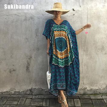 Sukibandra 2017 Women Vintage Dress Summer Maxi Long Thailand Batwing V Neck Print Bohemian Dress Retro Ethnic Loose Boho Dress