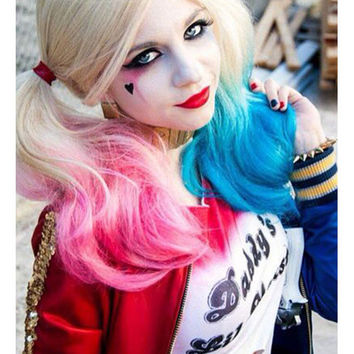 Batman / Suicide Squad Harley Quinn Pink Blue Cosplay Wig