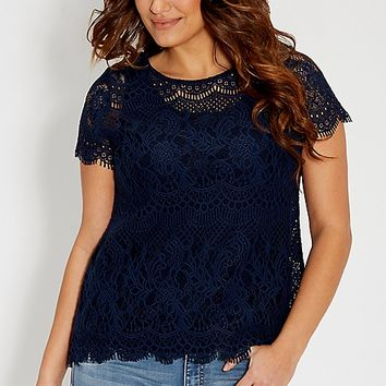 plus size floral lace tee with back slit | maurices